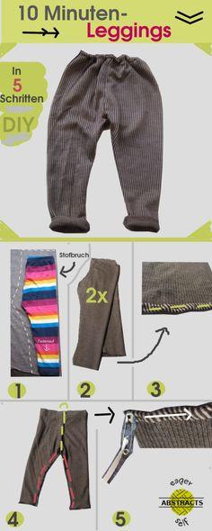 Leggings nähen Anleitung 5 Schritte