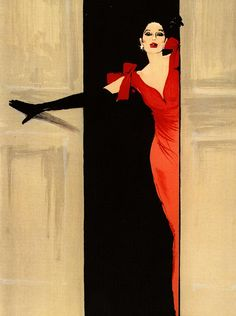 Fashion illustration by Rene Gruau. Dramatic contrast and colors. Love vintage illustration and posters, feel we can be inspired by them. Art And Illustration, Magazine Illustration, Arte Fashion, Dior Fashion, Fashion Models, Paper Fashion, Fashion Design, Rene Gruau, Pierre Balmain
