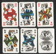 vintage cubist playing cards