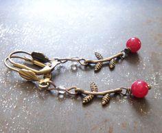 Raspberry Jade Branch Earrings / Assemblage Stone Bead Earrings Antiqued Brass Leaf Twig Vintage Style Woodland HandMade Jewelry Gift #1419