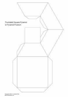 desarrollo plano de unpirámide cuadrada truncado Cardboard Paper, Paper Toys, Art Surf, Carton Diy, Paper Box Template, Diy Rangement, Origami Paper Art, Math Art, Principles Of Art