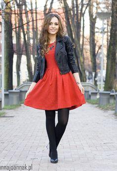 Red dress. Black jacket. Black tights. Done.