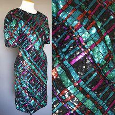 Vtg 80s Silk Beaded Sequin Plaid Dress