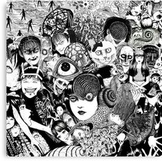 'junji ito collage' Poster by Mother. Manga Anime, Manga Art, Anime Art, Junji Ito, Japanese Horror, Japanese Art, Arte Horror, Horror Art, Collage Drawing