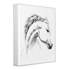 Horse portrait pencil drawing Ring binder