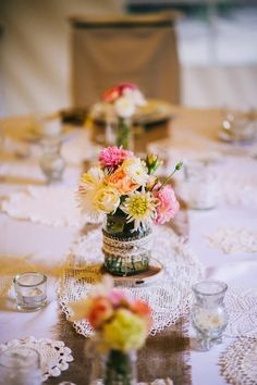 Rustic romantic wedding - burlap, lace, candles and flowers in mason jars Wedding Burlap, Burlap Lace, Lace Candles, Wedding Decorations, Table Decorations, Happy Day, Mason Jars, Bloom, Romantic