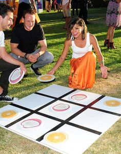 In honor of the fruit-flavored vodkas, a giant board of tic-tac-toe used cutout citrus slices as pieces