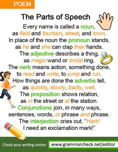 English Grammar Poem - http://www.grammarcheck.net/editor