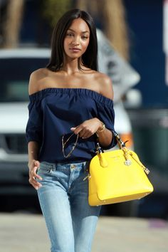 Jourdan Dunn's off-the-shoulder top and fringe jeans look
