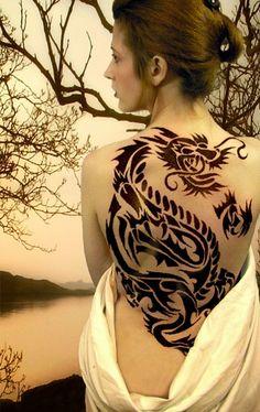 Elegant Tribal Flowers Tattoos Women 5-tribal-dragon-tatt