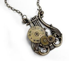 Steampunk Necklace Jewelry - Vintage Watch Face and Clock Gear MUSICAL LYRE Pendant Necklace