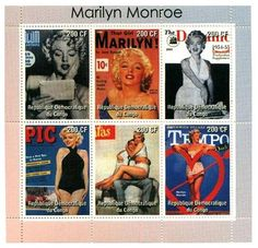 This sheet of stamps depicts 6 different magazine covers that featured Marilyn.