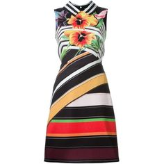 Mary Katrantzou Striped Print Dress ($850) ❤ liked on Polyvore featuring dresses, multicolor, striped dress, sleeveless a line dress, sleeveless dress, sleeveless short dress and floral print dress