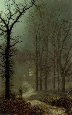 John Atkinson Grimshaw (1836-1893) Lovers in a forest.  Oil on cardboard -1873