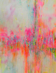 """""""in the mist,"""" pink abstract painting by artist Marta Zawadzka"""
