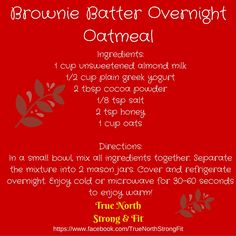Servings: 2 Container Count (per serving): 1Y 1/2R (additional 1Y if you count almond milk as Y) #beachbodycoach #bodybuilding #beachbody #healthymeals #fitlife #fitfam #weightloss #chocolate #overnightoats #christmas #recipes #yum