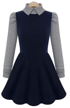 Navy Contrast Grey Sleeve Lapel Dress - Sheinside.com