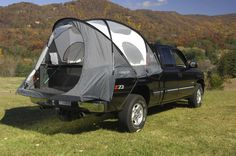 TRUCK TENT CAP. I used to love camping! You'd still need an air mattress but I think this is the only way my husband might give it another try :-) Lots of interior room. Height allows standing up to dress.  Easy, fast set up.  Large doors and windows . Skyview top vent for air circulation & more light. Full cover rainfly with clear windows. $200.00