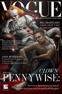 Pennywise and Bill Skarsgard is on the magazine! Horror Movies Funny, Scary Movies, Horror Icons, Horror Art, Bill Skarsgard Pennywise, It Movie 2017 Cast, Horror Villains, It The Clown Movie, Pennywise The Dancing Clown