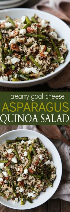 Creamy Goat Cheese Asparagus Quinoa Salad, loaded with delicious flavors your family will love. A quick easy gluten free recipe that makes a great lunch or side dish.   joyfulhealthyeats.com
