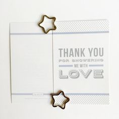 A thank you goes a long way. These beautiful thank you cards are all your guests need to feel even more special after your baby shower. Available in ocean blue in packs of 8, 12, 16 or 20.