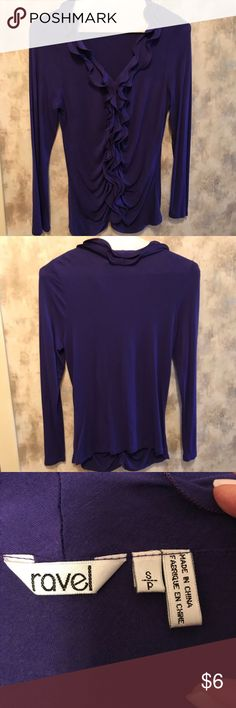 Purple Ruffled Blouse Feminine and figure-flattering with ruffled collar, with ruffle continuing all down the front of the blouse Ravel Tops Blouses