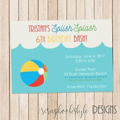 Pool Party Invite  Summertime Party  Simple Invites  Beach