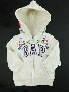 9db42735aa7d3 Baby Gap Girls Logo Hoodie Zipper Sweatshirt Floral Ivory/Gray 12-18 Month  2T
