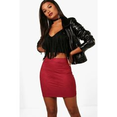 Boohoo Maren Suedette Stretch Mini Skirt ($9) ❤ liked on Polyvore featuring skirts, mini skirts, pleated mini skirt, red maxi skirt, short skirts, pleated skirt and short maxi skirt