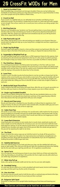Top 20 #crossfit workouts for men See more CrossFit wods here http://www.dsstuff.com/crossfit-workouts-of-the-day/