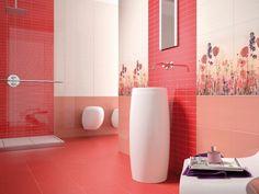 Modern bathroom tiles, check out our Vetro Red tiles #armatile #BathroomTiles