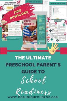 FREE parent guide includes checklists to track school readiness, 7 things your child should be doing daily to get ready for kindergarten, and next steps. Get your free copy!  #kindergartenreadinesschecklist #schoolready #preschoolskills