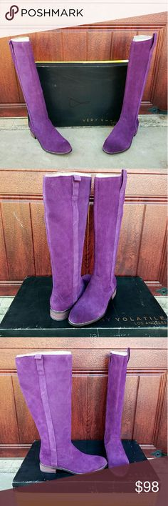 """Beautiful Purple Suede Very Volatile Boots These beautiful purple suede boots by Very Volatile feature a round toe and side zipper. Pair with skinny jeans, dresses, shorts, leggings, etc. These are new with box. 1"""" Heel Height 15.5"""" Shaft Height 15"""" Circumference Very Volatile Shoes Heeled Boots"""