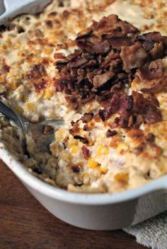 4 cans Libby's whole kernel corn, drained 12 slices bacon, split 1/4 cup butter 1/2 cup onion, diced 2 - 8 ounce packages cream cheese 1/2 cup + 2 tbsp parmesan cheese, grated 1/2 tsp black pepper 1 tbsp olive oil or melted butter  Instructions Preheat your oven to 375°.  In a large high-sided skillet over medium-high heat, cook the bacon until crisp.  Remove bacon to a paper towel lined plate and discard the bacon drippings (you can leave a tablespoon or two in the pan for a little extra…