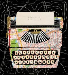mixed media collage by Aine Venables #typewriter #collage #mixed_media #papers #crafts #diy #handmade