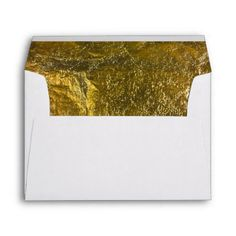 Elegant Luxury | Faux Gold Leaf Foil 5 X 7 Wedding Envelope