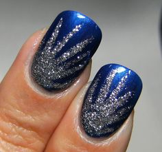 Blue and silver nails. These would match my homecoming dress so well!!