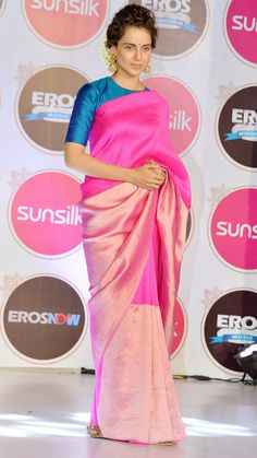 Kangana Ranaut looking lovely in a saree at a promotional event for Tanu Weds Manu Returns.