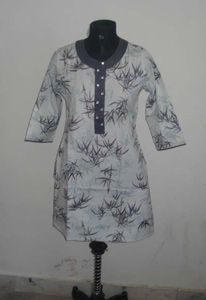 Mayur Collections Cotton Printed 3/4th Sleeve Kurtis - MM687 (White)