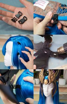 Do you have trouble attaching armor or headpieces to wigs? Use tiny snap buckles!