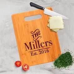 "Engraved Custom Bamboo Cutting Board personalized with Last Name and Est. Year. Makes great personalized Anniversary gift.  ❤ ABOUT JOYFUL MOOSE CUTTING BOARDS ❤ - 8.75 x 11.5 inch bamboo cutting boards - design is laser engraved on one side - use other side for cutting - ready for gift giving packaged in a gift box - display stands are sold separately  ★★ IMPORTANT CHECKOUT INFO ★★ To avoid delays in your order, please specify in the ""NOTES TO SELLER"" area how you want your item customized…"