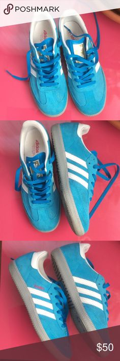 Turquoise Adidas Samba - Rare Color - fits 6.5-7 Gorgeous suede Sambas in turquoise with grey sole, and hot pink Samba logo. Bought online where they were incorrectly listed as men's size 6.5. Some light scuffs/stains, but overall barely worn condition. Fits women 6.5-7. Adidas Shoes Athletic Shoes