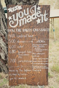 4 - ceremony  5 - appetizers, drinks, wine 5:30 - dinner  6:30 - speeches / cake / bouquet toss / first dance /open bar 7:30 - music & karaoke (karaoke cowboys?) 9:00 - it's about to get rowdy