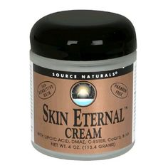 Source Naturals Skin Eternal Cream for Sensitive Skin, 4 Ounce by Source Naturals. $21.41. Contains DMAE, alpha-lipoic acid, ascorbyl palmitate (C-ester), Coenzyme Q-10, MSM, and has a fresh kiwi scent. Glycolic (AHA)-free formula for sensitive skin. Helps your skin feel more supple and replenished. May be used by itself or in conjunction with Skin Eternal¿ Serum. Richly emollient cosmetic that can be smoothed under the eyes or on the neck to nourish delicate...