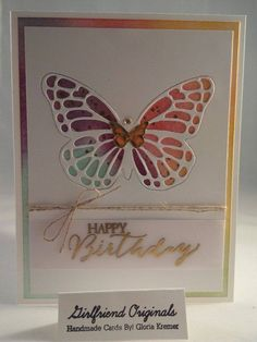 Butterfly card with sponge effect. Stampin up card by Gloria Kremer