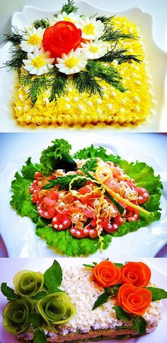 Украшение праздничных салатов, закусок, десертов Amazing Food Decoration, Creative Food Art, Crudite, Fruit And Vegetable Carving, Food Garnishes, Garnishing, Food Carving, Food Platters, Food Crafts