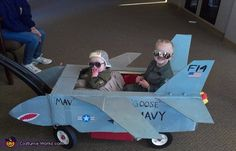 Ashley: The idea for this costume came from the movie Top Gun. My 3 year old son Mason is Goose and his little brother, 5 month old Maverick is Mav. The...