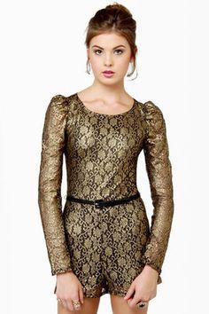 Cute Lace Romper - Gold Romper - Black Romper - $45.00