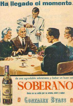 """Anuncio del coñac Soberano de González Byass. Sin fecha. Momento de la sobremesa. """"Único"""". / González Byass advertisement for Soberano cognac. Undated. The after-dinner conversation. """"Unique""""."""
