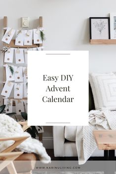 A DIY Advent Calendar with dollar store finds and items you already have Diy Advent Calendar, Words Of Affirmation, Blanket Ladder, Round Stickers, Dollar Stores, Lifestyle Blog, Easy Diy, Interior Decorating, Christmas Decorations